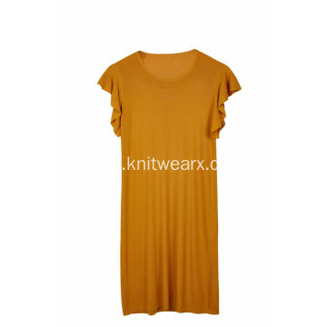Women's Knitted Crew-Neck Flutter Sleeve Stretchable Dress