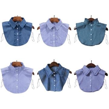 Minimalist Stripes Denim Women Detachable Lapel Fake Collar Cute Ruffles Lace Splicing Button Down False Half Shirt Blouse