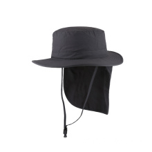 Nylon fabric bucket hat with cape