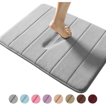 Comfity Light Gray Memory Foam Bath Mat