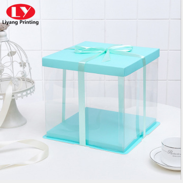 Transparent around PVC window with ribbon closure box