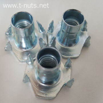 Zinc Plated Furniture HOPPER FEED NOTCHED PRONG T-Nut