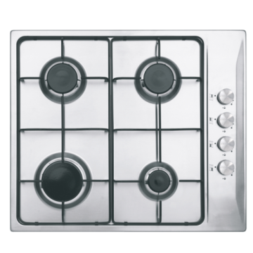 4-Burner White Stainless Steel Hob 600mm