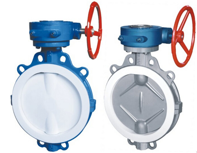 Manual PTFE Fluorine lined  Wafer Butterfly Valve