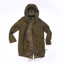 Women`s military green Parka with hood