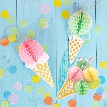 Ice Cream Party Honeycomb Ice Cream Cone Hanging Decoration Kids Birthday Party Summer Baby Shower Girl