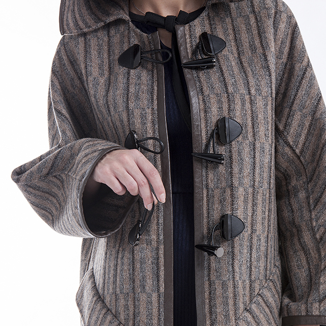 Hat and cashmere coat stripes