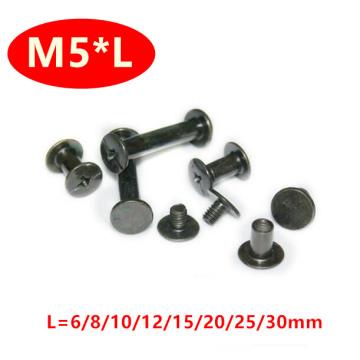 50pcs Chicago screw sex bolt book binding post screws M4 inner thread OD5mm black zinc M5*6/8/10/12/15/20/25/30m'm length