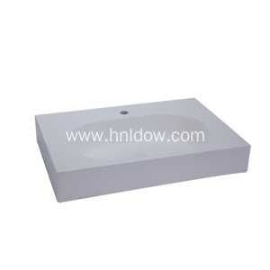 Simple Solid Surface Rectangular Countertop Wash Basin