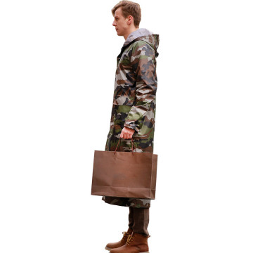 Hooded adult long raincoat camouflage style polyester