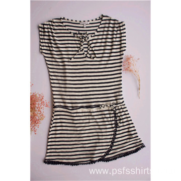 Women Striped Round Neck Dress