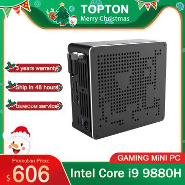 2 Lans Mini PC Intel Core i9 9880H 8 Cores 16 Threads Gaming Desktop Computer 2*DDR4 2*M.2 NVMe Win10 Pro 4K HTPC HDMI DP Type-C