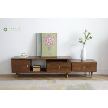 Madilim na Brown Solid Goma Wood Flexiable TV Stand