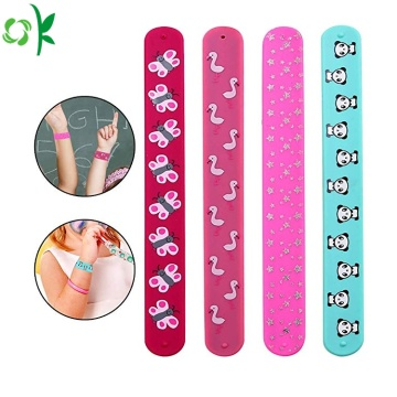 High Quality Printed Logo Silicone Slap Bracelet Wholesale