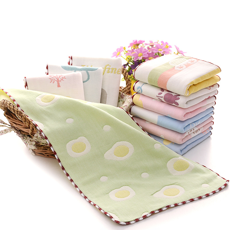 Factory direct selling six layers of children's lock edge cotton cotton children's gauze towel kindergarten water absorption face small towel (14)