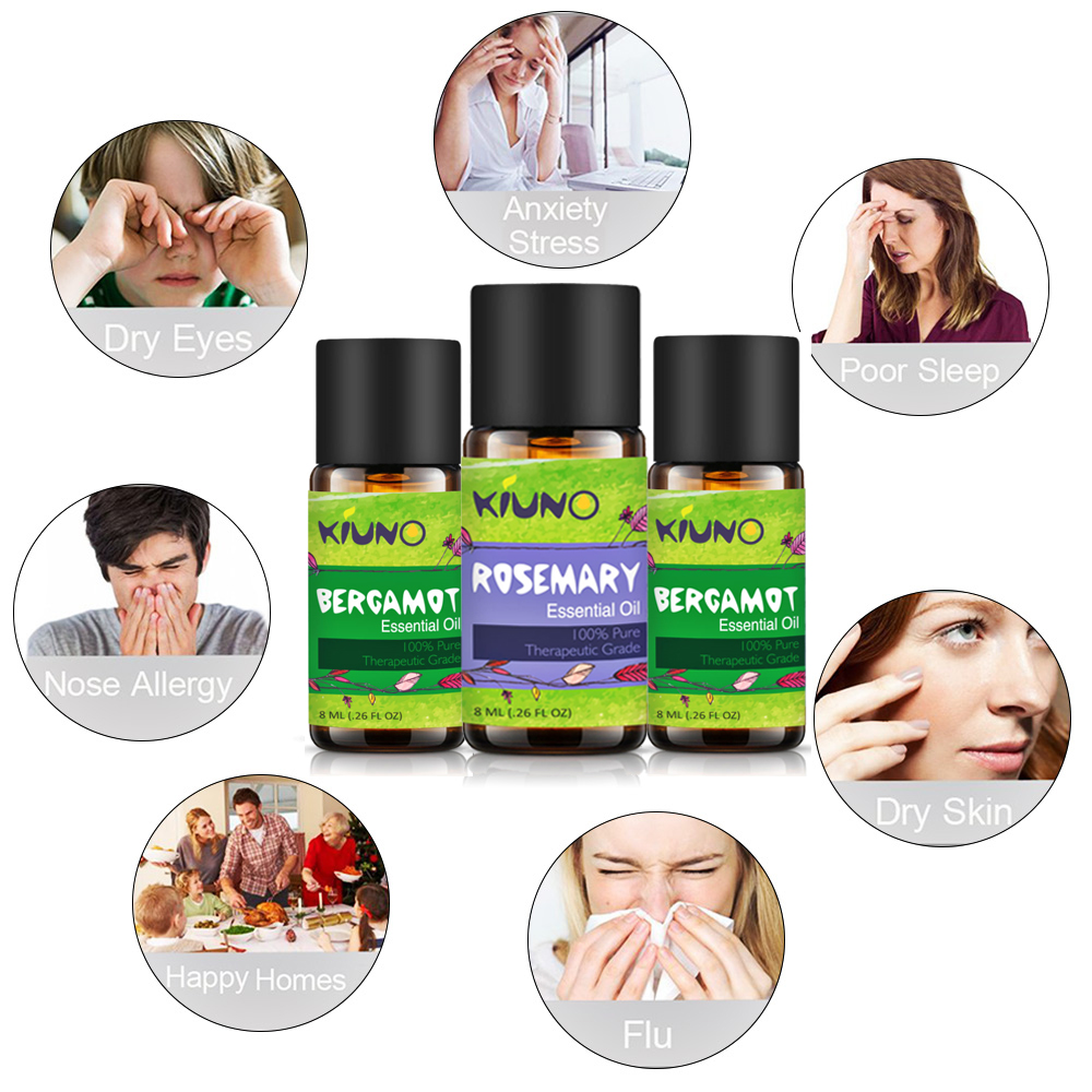 KINUO 8ML Bergamot Flower Fruit Essential Oils for Humidifier for Aromatherapy Diffusers Skin Care Tea Tree Oil Relieve Stress