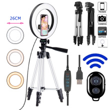 10inch Photo Ringlight Led Selfie Ring Light Phone Tripod Holder Bluetooth Remote Lamp Photography Lighting Youtube Live