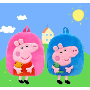Cartoon Pig Plush Schoolbag Toy Embroidery Bag Backpack
