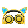 Colorful earphone led headset kids headphones cartoon cat
