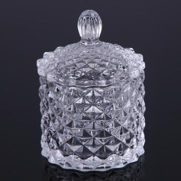 Small Diamond Patterned Clear Glass Candy Jar