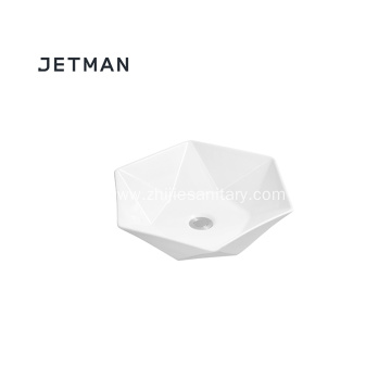 Irregular shape counter top ceramic basin
