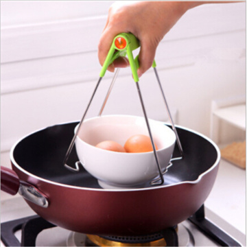 Foldable Stainless Steel Hot Bowl Clip Pot Dish Holder Steamer Heat Insulation Plate Tong Anti-Hot Clamp Gripper Kitchen Tools