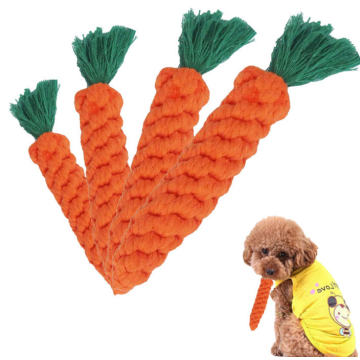 Cotton Carrot Teeth Cleaning Pet Dogs Rope Toy