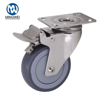 4 Inch Medium Duty TPR Wheel with Brake