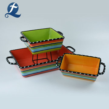 Creative Printed Colorful Bakeware Sets With Handle