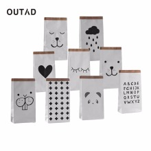 OUTAD Cartoon Heavy Kraft Paper Storage Bag Pouch Pack Kid Toy Laudry Clothing Sundries Organizer Home Decor Gift