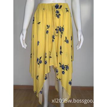 Women's ruffled elastic waist skirt