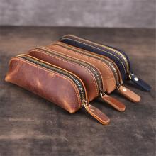 Genuine Leather Pencil Bag Vintage Pencil Case Portable Zipper Pencil Glasses Storage Box Stationery Holder Office Accessories