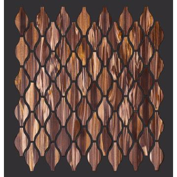 Bathroom Brown Gold Powder Pattern Glass Mosaic Tiles
