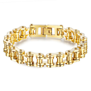 Gold plated stainless steel mens bike chain bracelet