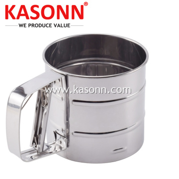 Mesh Mechanical Stainless Steel 1 Cup Flour Sifter