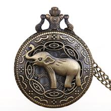 New Arrival Bronze Elephant Pocket Watches Chains Steampunk Hollow Quartz Pocket Watch Necklace Pendent For Men Women Gifts