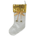 Christmas gold sequin and plush stocking