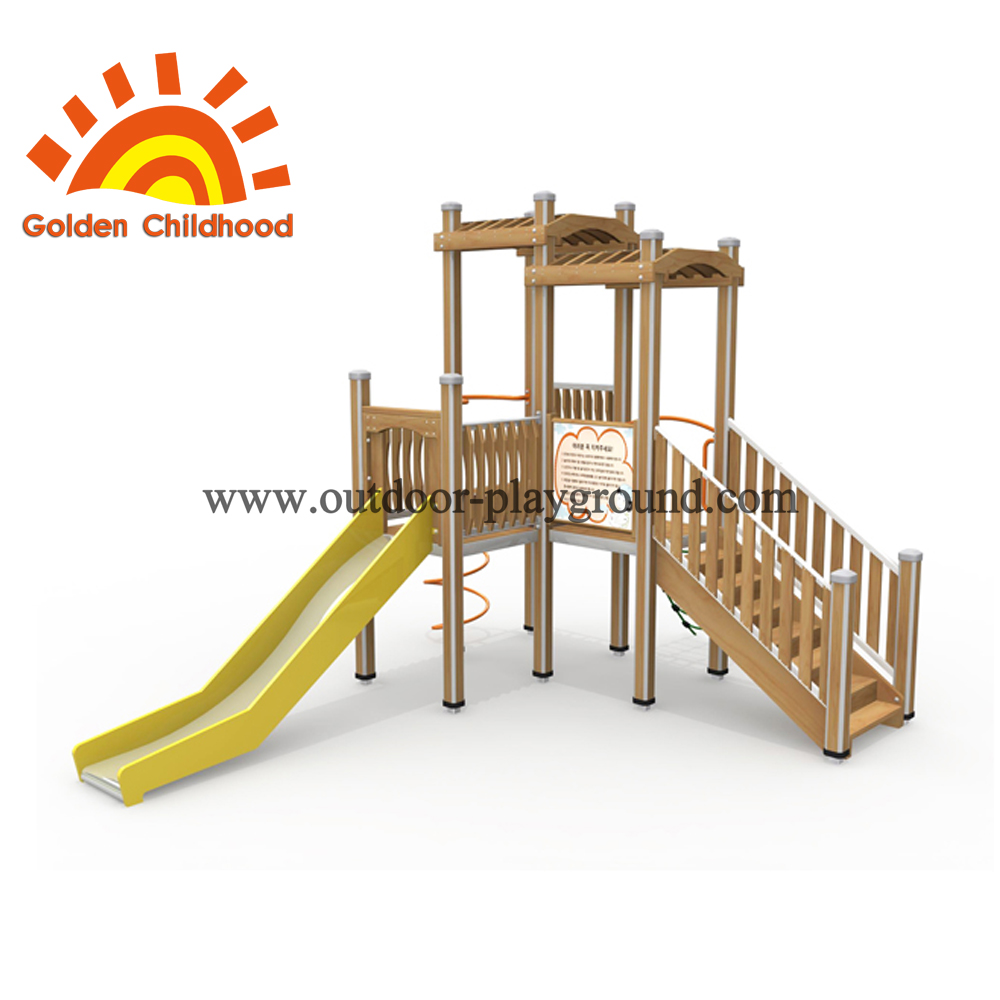 Wooden Slide Playhouse Outdoor Playground Facility For Sale