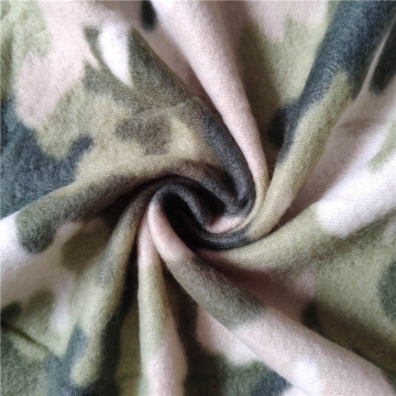 Green Camo Printed Double Side Brushed Fleece Fabric