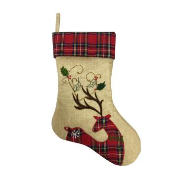 2020  flax Christmas stocking with deer Embroidered