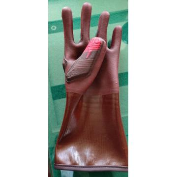 14-inch Red Cut-Resistant Impact Resistant PVC Coated Glove