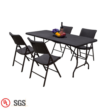 Outdoor Garden Rattan Plastic Study Folding Table
