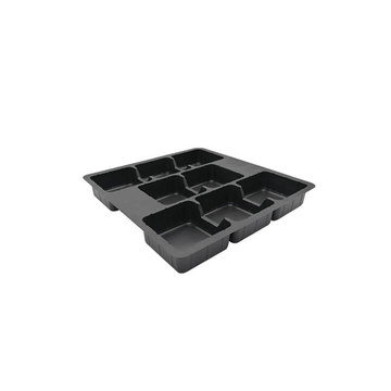 Vacuum formed black plastic blister food tray