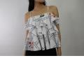 LADIES SLEEVELESS PRINT TOP