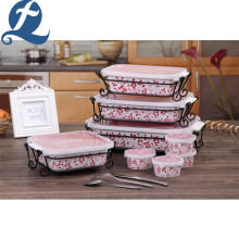 China manufacture Reusable Ceramic Baking Bakeware Set With Lid