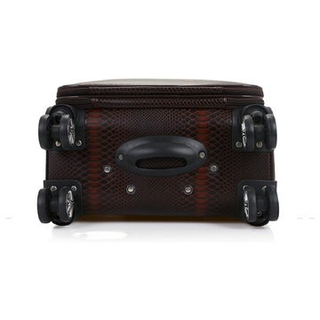 Brown PU Leather 16inch Trolley Travel Luggage