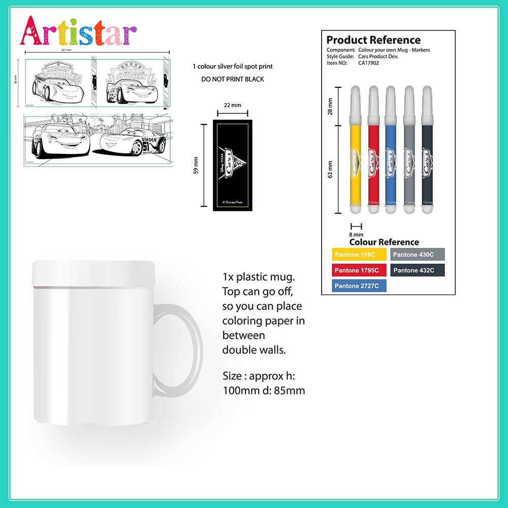 Disney Pixar Cars Colour Your Own Mug Colouring Set 2