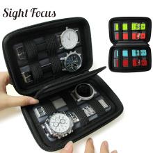 Black Hard Shell 4 Slot Watch Box Case Waterproof Travel Watch Storage Bag for Suunto Holder Portable Watch Strap Band Organizer