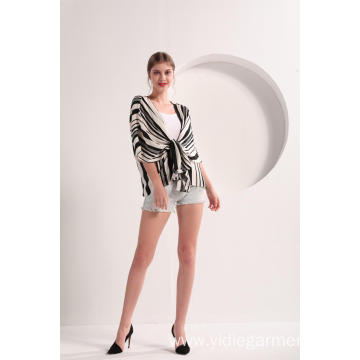 Black and White Stripe Short Sleeve Kimono
