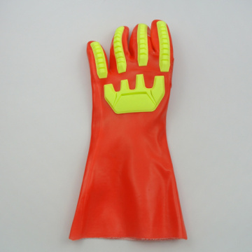 Fluorescent Red TPR PVC Coated Gloves